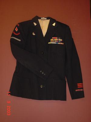 navy jacket with pale pink lining