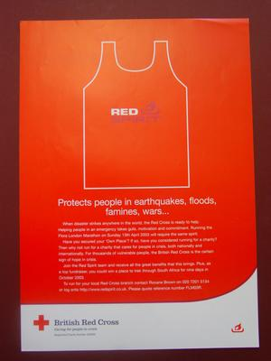 Poster in red and white featuring outline of tabbard with the words 'Red Spirit' and a purple torch logo