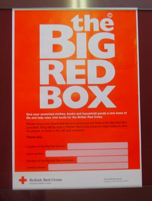 red, white and black text-only poster featuring the words, 'the Big Red Box'