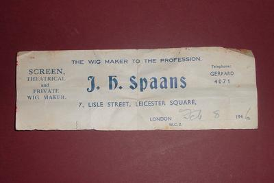 Receipt from wig maker, J H Spaans, 1946