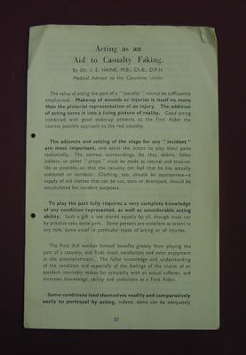 Pamphlet: 'Acting as an Aid to Casualty Faking' by Dr J. E. Haine