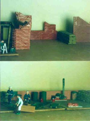 set of models illustrating the work undertaken by British Red Cross Civil Defence volunteers
