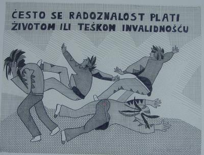 framed black on white drawing featuring four individuals affected by a blast entitled, 'Cesto se radoznalost plati zivotom ili teskom invalidnoscu'