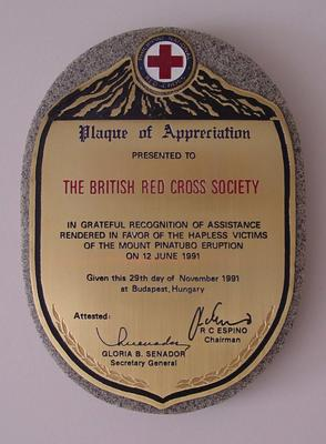 Plaque of appreciation presented to The British Red Cross Society in recognition of assistance after the Mount Pinatubo eruption, 1991