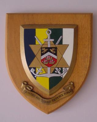 Wooden shield featuring the badge of the Trinidad and Tobago Defence Force