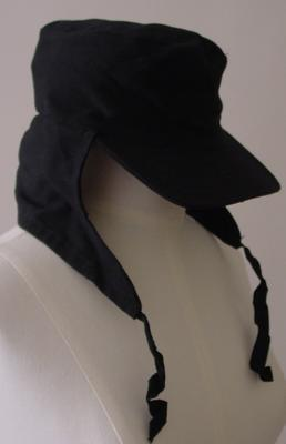 black peak hat with neck cover and under-chin fastening