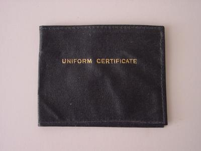 Uniform certificate holder containing three passes for British Red Cross canteen and restaurant services
