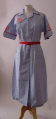 plain red belt worn with serf/vermillion and white striped dress