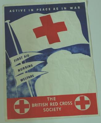 British Red Cross poster advertising First Aid, Nursing and Welfare services.