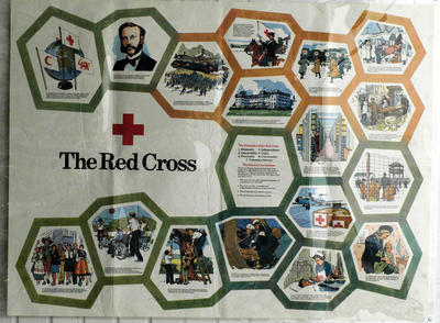 poster illustrating key moments in red cross history, as well as the Principles of the Red Cross and the Geneva Conventions.; Posters/poster; 2185/17