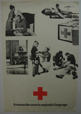Small poster advertising red cross personnel helping with a variety of situations from first aid to delivering supplies during floods; Printed Docs (museum)/poster; 2185/18