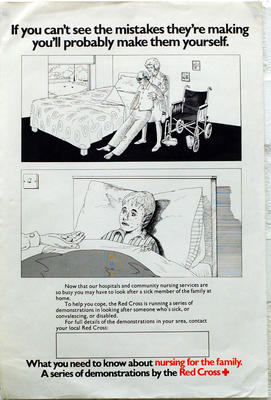 Small poster advertising nursing for the family, a series of demonstrations by the British Red Cross