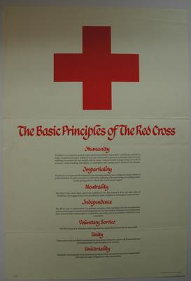 Poster with emblem: 'The Basic Principles of the Red Cross' listing each one and with explanation under each principle