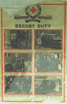 poster advertising the British Red Cross Society's transport and escort service