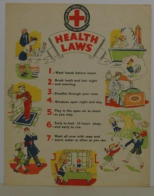 Poster featuring Junior Red Cross 'Health Laws'