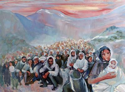Oil painting: 'Is capture ever humane? Stateless Kurds'; Eve Goldsmith; Art/painting; 2193/2