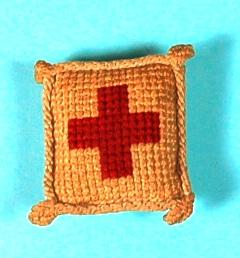 Pincushion, made from wool and leather