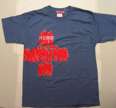 Blue t-shirt with red and silver transfer. Designed for Red Cross Hero Campaign which was part of Red Cross Week in 2004