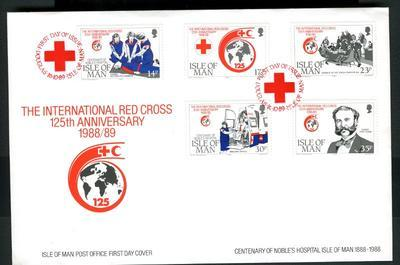 Commemorative stamps produced for the 125th anniversary of the Geneva Convention, 1988-1989.