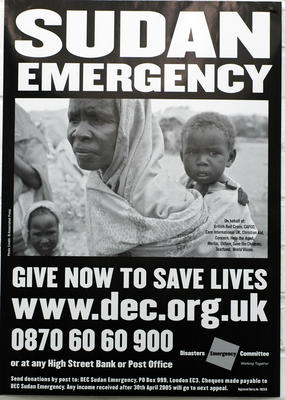 Large poster produced for the DEC Sudan Emergency Appeal.