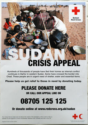 Large poster produced for the Sudan Crisis Appeal, 2004
