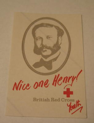 British Red Cross Youth sticker: 'Nice One Henry!'; Fundraising/sticker; 2243/3