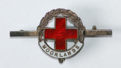 tie or scarf pin of a bronze bar with the emblem surrounded by a laurel wreath; Medals and Badges/badge; 2253/71