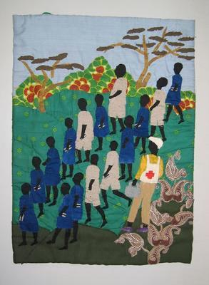 wall hanging showing a group of children in blue or grey uniforms with a member of the Red Cross