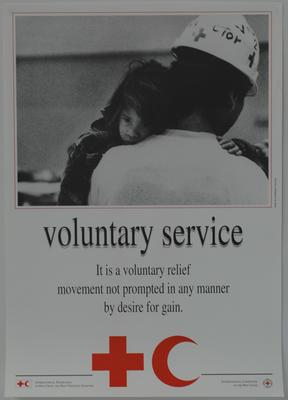 Poster illustrating the Fundamental Principles of the International Red Cross: Voluntary service.