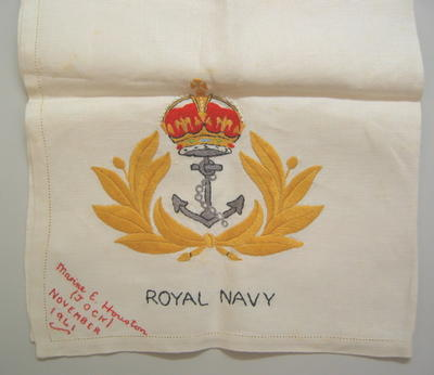 Embroidered piece of cloth [table mat?] made by Marine E. Houston (Jock) November 1941.
