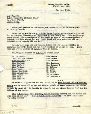 Copy letter of appreciation for the work of the British Red Cross Commission from the community at Belsen Camp