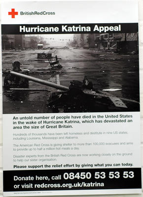 Poster advertising the Hurricane Katrina Appeal, 2005.