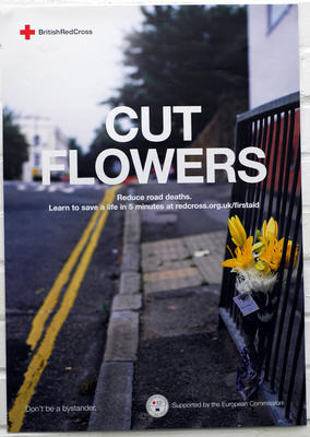 colour poster advertising the Cut Flowers campaign to improve road safety