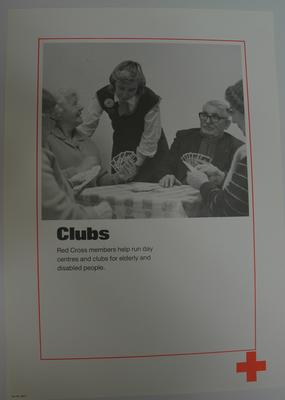 poster advertising British Red Cross day centres and clubs for elderly and disabled people