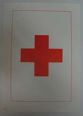 Plain white poster with red border and emblem in the centre.
