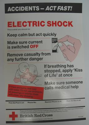 One of a series of 8 posters: Accidents - Act Fast! Electric Shock. This is what you should do ....
