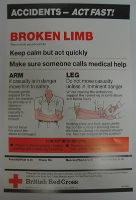 One of a series of 8 posters: Accidents - Act Fast! Broken Limb. This is what you should do ....