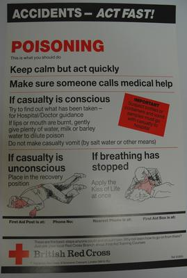 One of a series of 8 posters: Accidents - Act Fast! Poisoning. This is what you should do ....