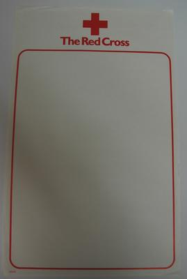 Blank Red Cross branded poster; Printed Docs (museum)/poster; 2293/33