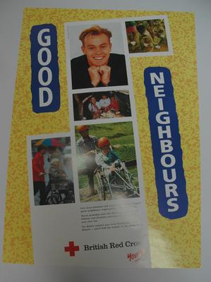 recruitment poster: 'Good Neighbours. Join Jason Donovan and support the world's largest good neighbour organisation - The Red Cross.