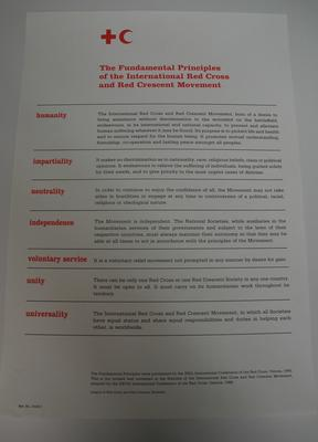 Poster displaying the Fundamental Principles of the Red Cross