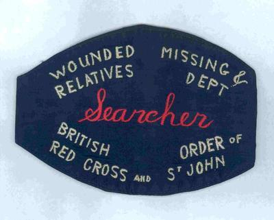 Navy blue brassard worn by those working for the Wounded and Missing department during the Second World War.