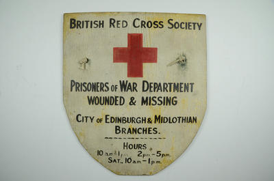 Sign: British Red Cross Society Prisoners Of War Department and Wounded & Missing services