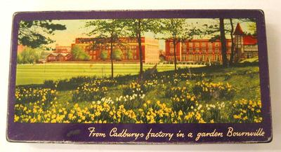 Empty tin, once contained an assortment of Cadbury's Chocolates and Biscuits.