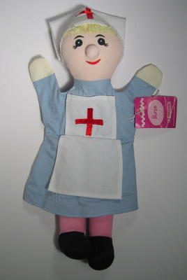 Hand puppet dressed as a Red Cross nurse.