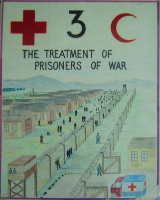 One of a set of five laminated posters, produced for a training course: THE TREATMENT OF PRISONERS OF WAR