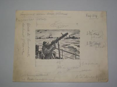 black and white proof: soldier with gun. There are remarks pencilled over the cardboard mount: 'Red X Penny a Week Feb Press Campaign and measurements.