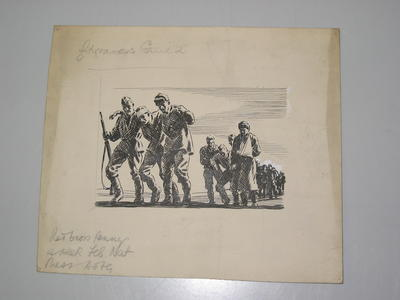 black and white proof: a line of wounded soldiers assisting one another on march. There are remarks pencilled over the cardboard mount: Red Cross Penny a Week Feb Nat Press Campaign