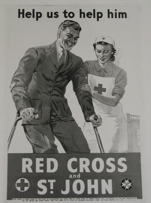 photograph of poster: Help us to help him. Red Cross & St John