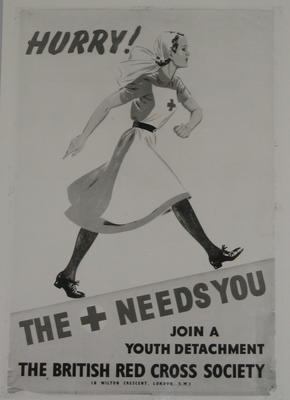 photograph of poster: Hurry! The [Red Cross] needs you. Join a Youth Detachment. The British Red Cross Society